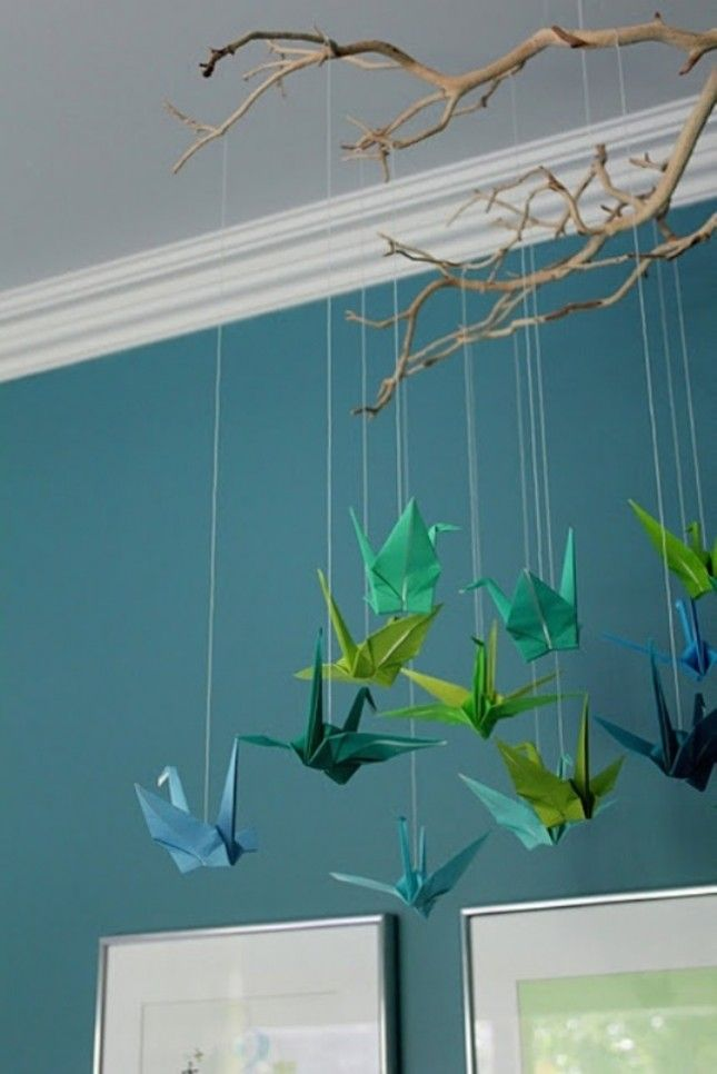 Origami Cranes I Love The Blue Color Family All Hung Together In Corner Of A Room