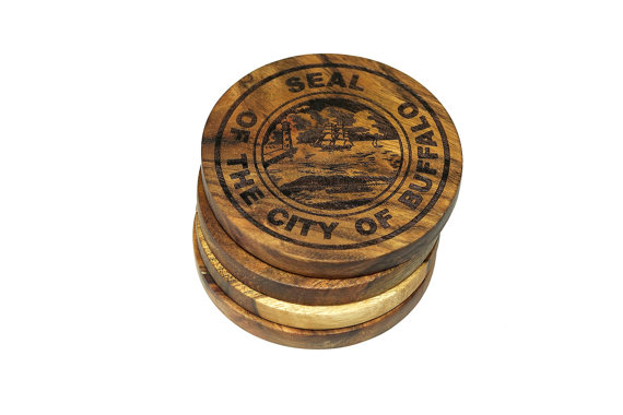 City Seal Of Buffalo New York Coasters Set Of 4 Engraved Acacia Wood Coasters New Homeowner Gift Buffalo City Coasters