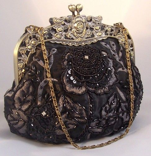 "BLACK w/ SILVER EMBROIDERY Vintage Evening Bag...""Granny Katherine"" had a huge collection with stories to match xo"