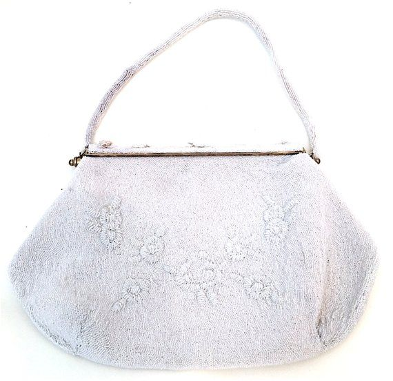 Women s Vintage 1940 s-1950 s White Beaded Clutch Purse - Made in France 53d8c4c13ced6