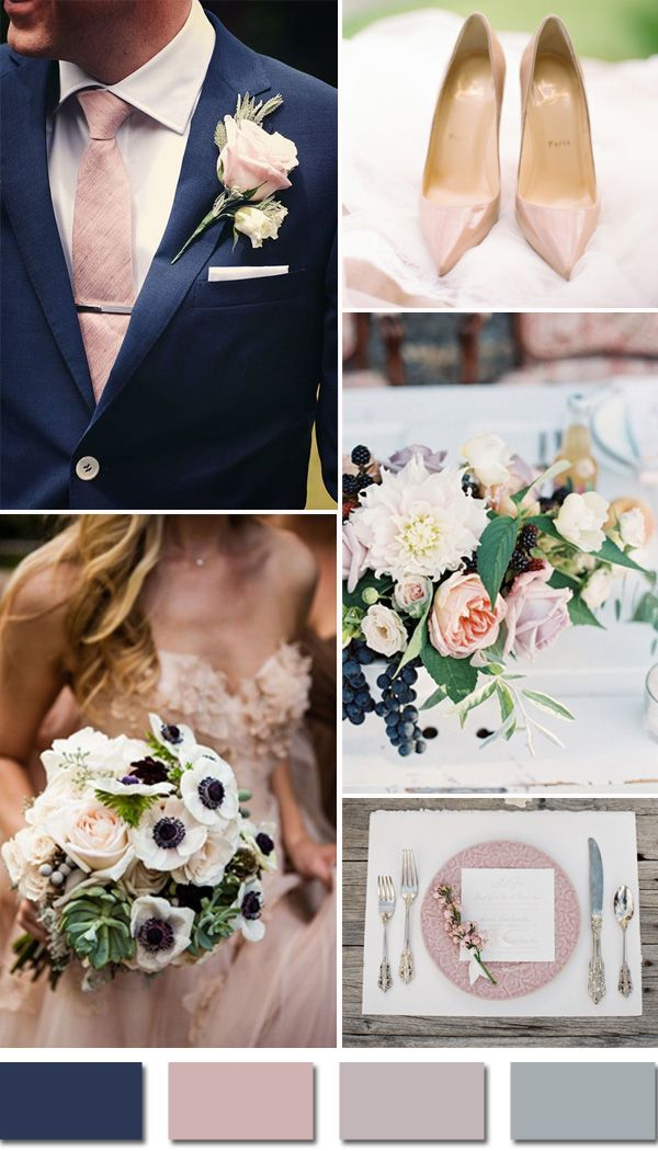 Navy Blue And Blush Pink Fall Wedding Color Ideas | deweddingjpg.com