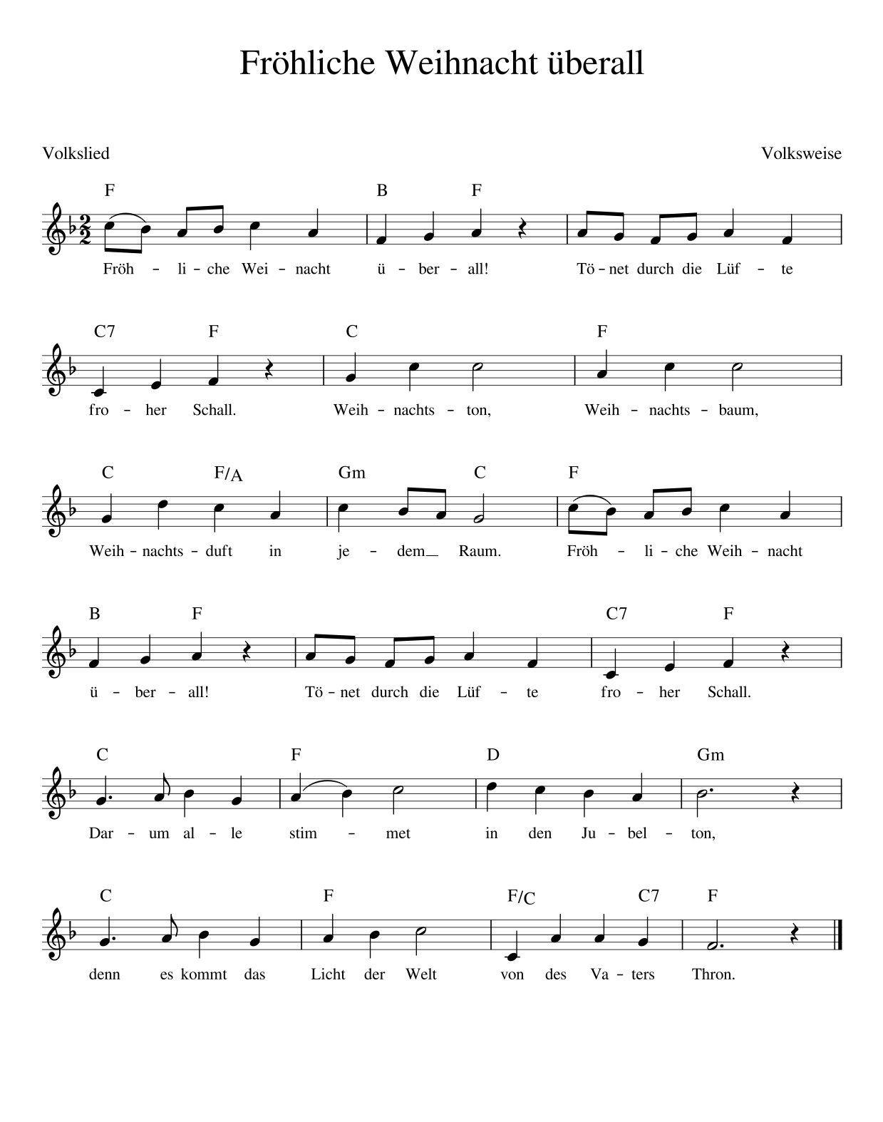 Fröhliche Weihnacht überall Weihnachtslieder mit Noten
