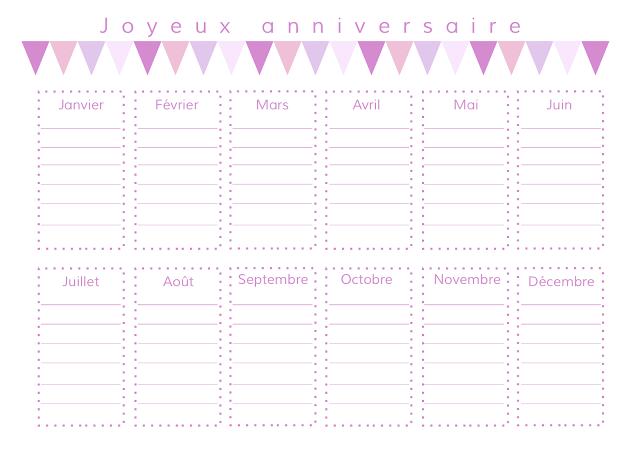 gabulle in wonderland calendrier des anniversaires imprimer birthday planning version rose. Black Bedroom Furniture Sets. Home Design Ideas