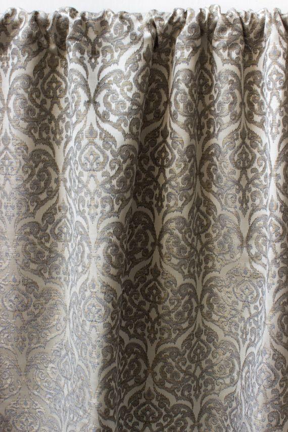 Gray Gold Moroccan Curtain Panels Damask Custom Curtains 44 63