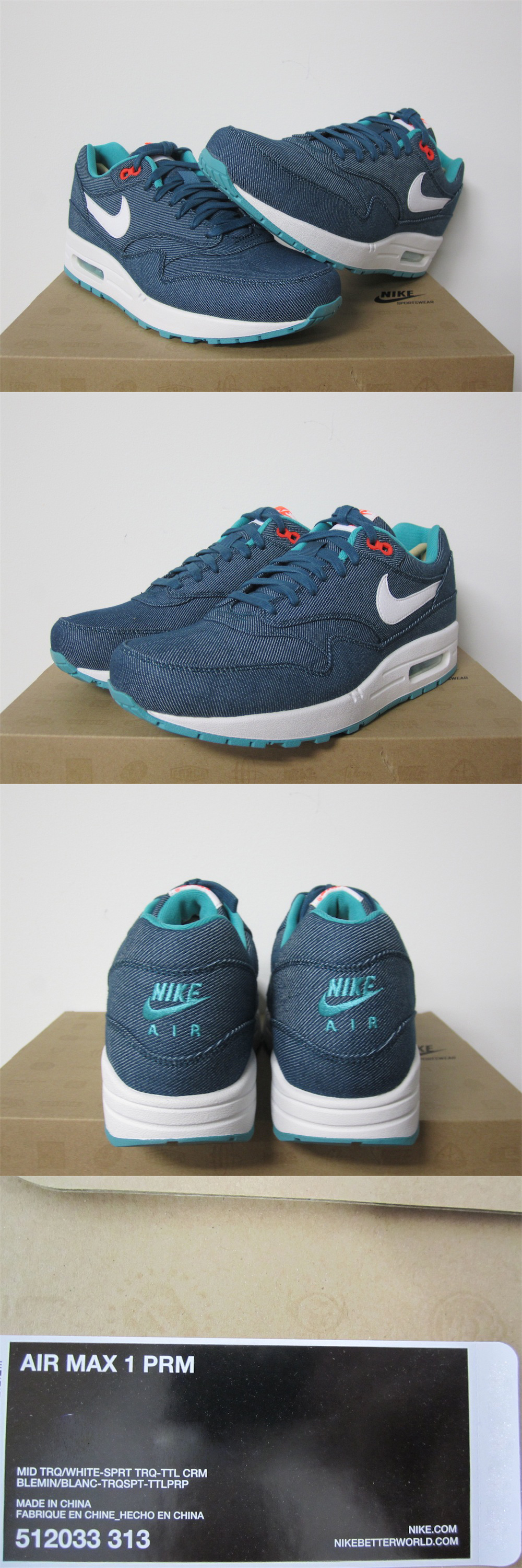 5d33fb3eac3 Nike Air Max 1 Premium Turquoise Denim White DS Sz 9 New 512033 313 ...