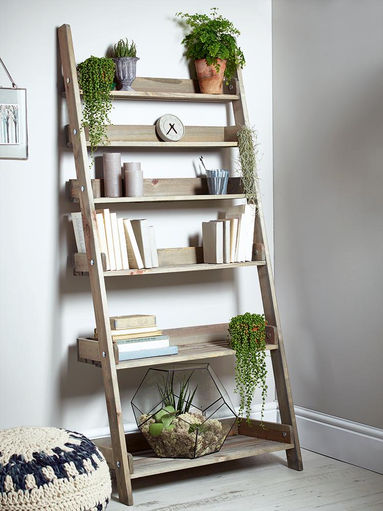 Rustic Wooden Ladder Shelf Wide In 2020 Ladder Shelf Decor Wooden Ladder Shelf Wooden Decor