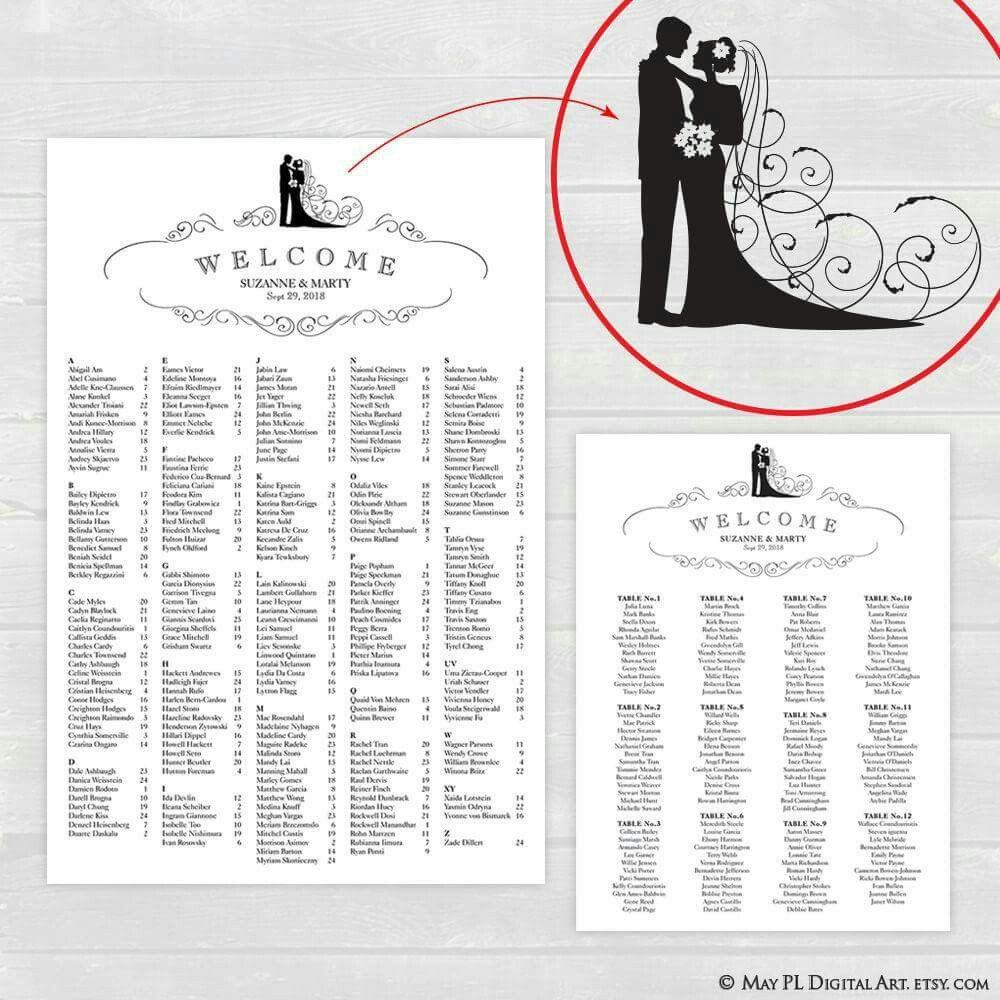 Bride and Groom design wedding seating chart 2 different