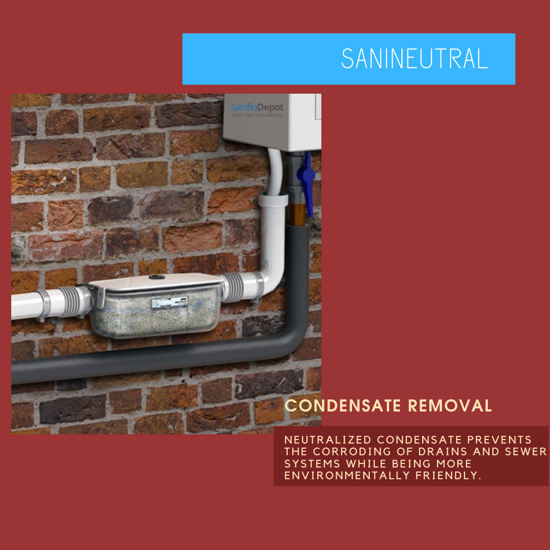 The Sanineutral Will Neutralize The Acidic Condensate From A Boiler Tankless Water Heater Air Condit Air Conditioning Unit Tankless Water Heater Sewer System