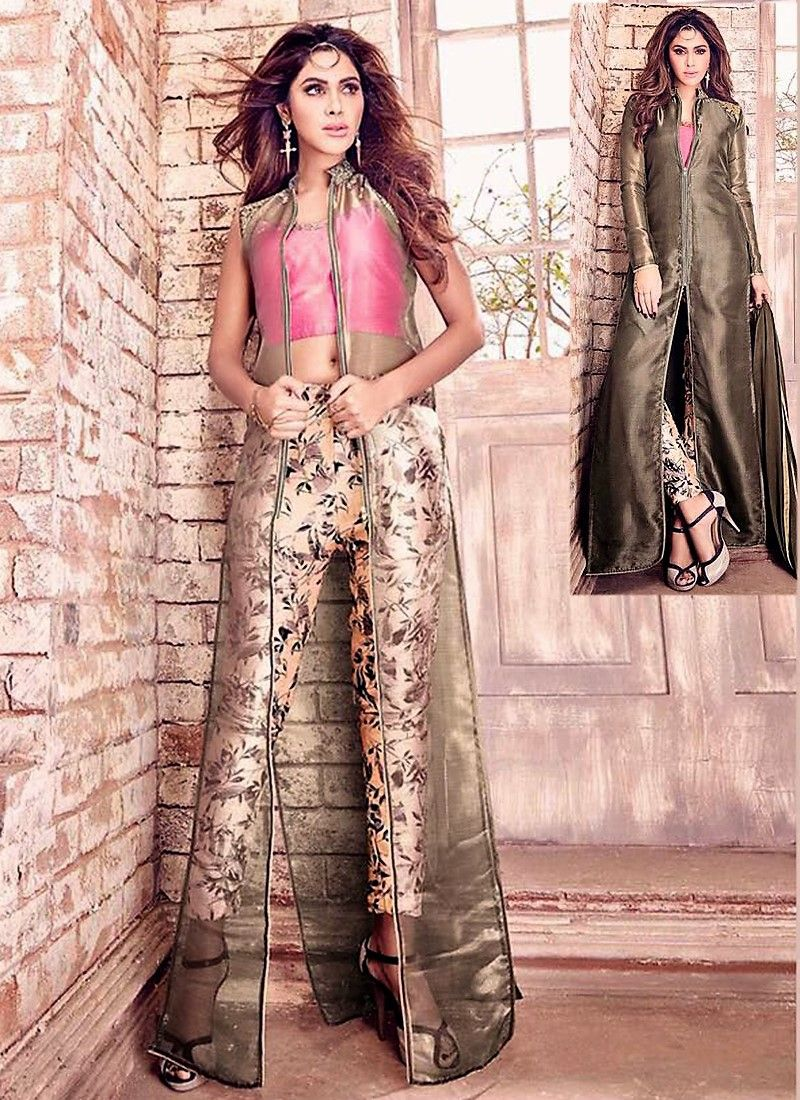 Pink Printed Indo-Western Suit With Long Coat | Indowestern | Pinterest