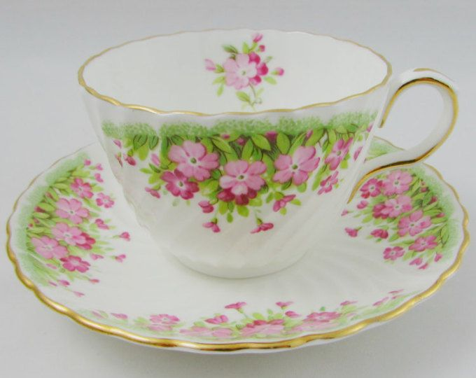 NEW Country Chic Tea Cup and Saucer Pink /& Lavender Peony Tea Cup /& Saucer