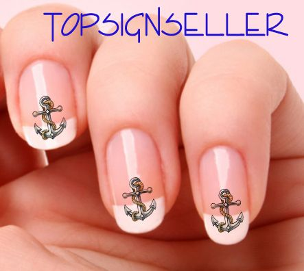 20 Nail Art Stickers Transfers Decals  - Anchor