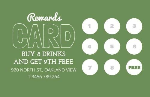 Green Loyalty Drink Reward Card Template Card Templates Free Free Business Card Templates Free Printable Card Templates