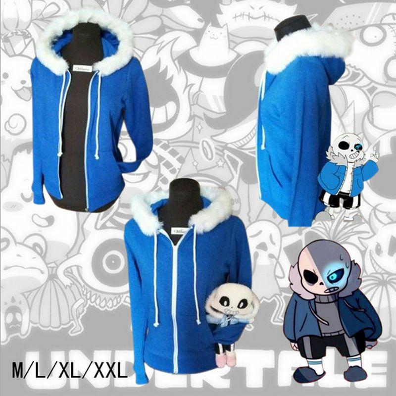 Undertale Sans Cosplay Blue Hoodie Hooded Jacket Coat Sweater Costume Sport Hot