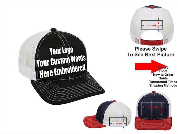Custom Hat Custom Logo Hat Custom Text Hat Curved Bill Trucker Mesh Back Hat Embroidered Adjustable Hook And Loop Fast Custom Hats Embroidery Logo Hats