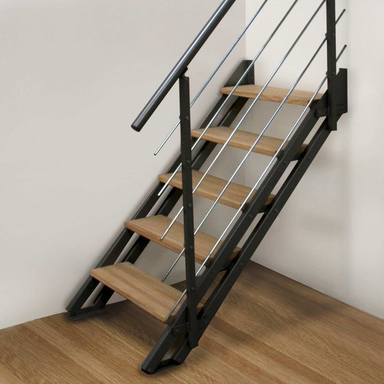Escalier Droit Acier Noir Escavario 4 Marches Naturel L 80 Cm Escalier Droit Escalier Rambarde