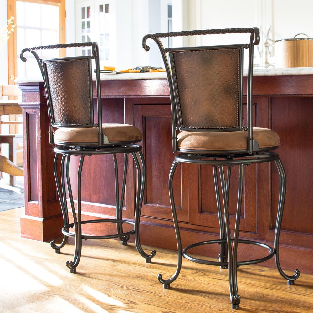 Rustic Metal Bar Stool Padded Seat Hammered Copper High Back