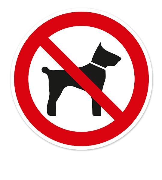 Verbotsschild oder Aufkleber Mitführen von Tieren verboten
