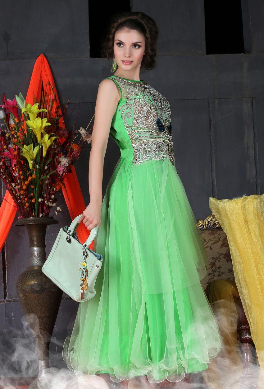 Green #Net #Party #Wear #Gown #nikvik #usa #designer #australia ...