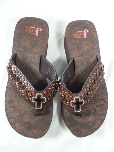 797ea5ab16c98e Justin-Ladies-Western-Flip-Flops-Size-9-Brown-Sandals -Bling-Cross-Rhinestones