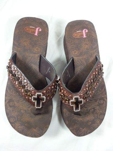 cc89b9c3c578ba Justin-Ladies-Western-Flip-Flops-Size-9-Brown-Sandals-Bling-Cross- Rhinestones