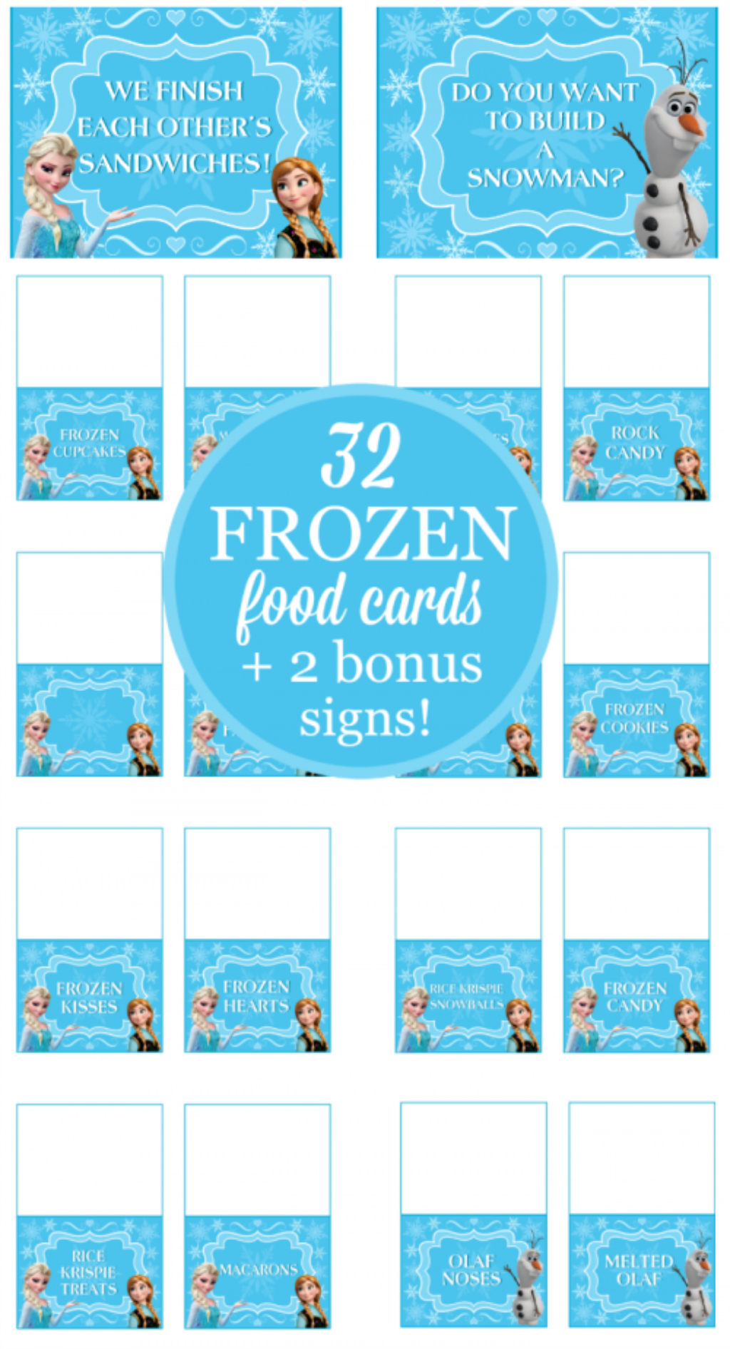 32 Frozen Party Food Card Printables Free Bonus Signs In