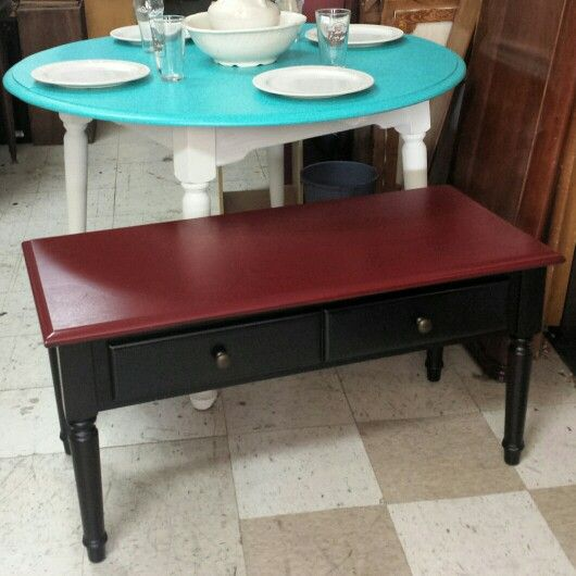 painted thomasville coffee table in claret red and black. $99.00