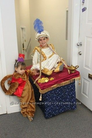 Coolest Abu And Aladdin On A Flying Carpet Kids Halloween Costumes