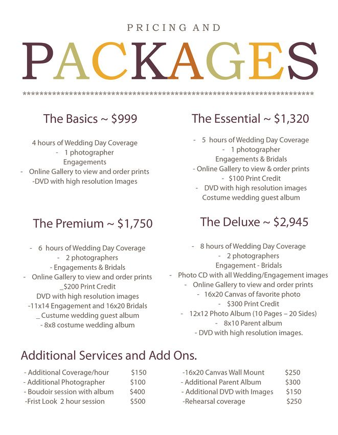 Introducing 2014 Wedding Photography Pricing and Packages ...