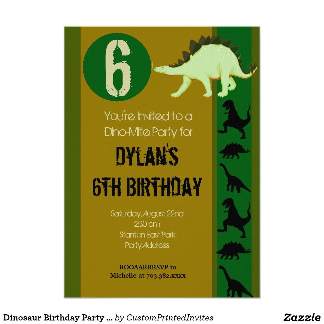 Dinosaur Birthday Party Invitations Earth Tones SOLD on Zazzle ...