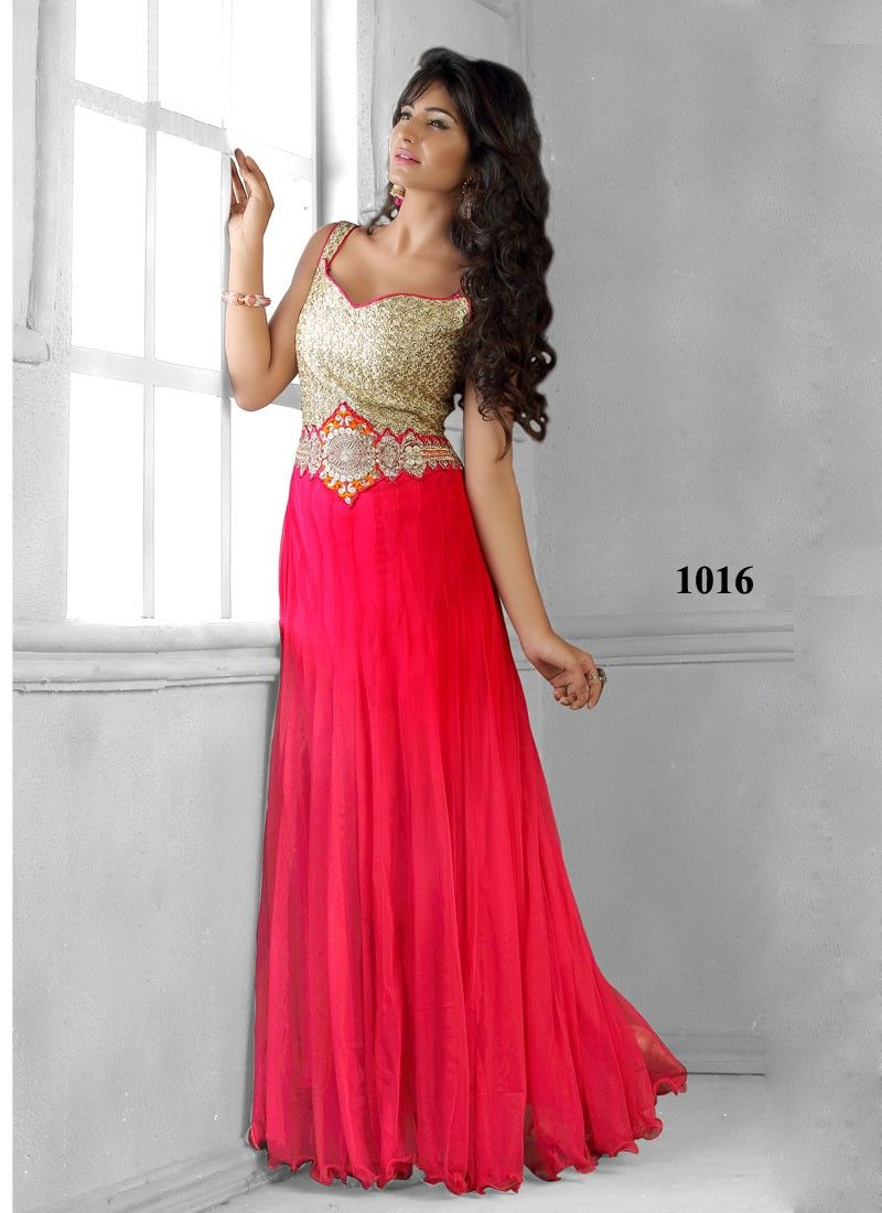New beautiful designer red net floor touch anarkali suit for Floor touch gown