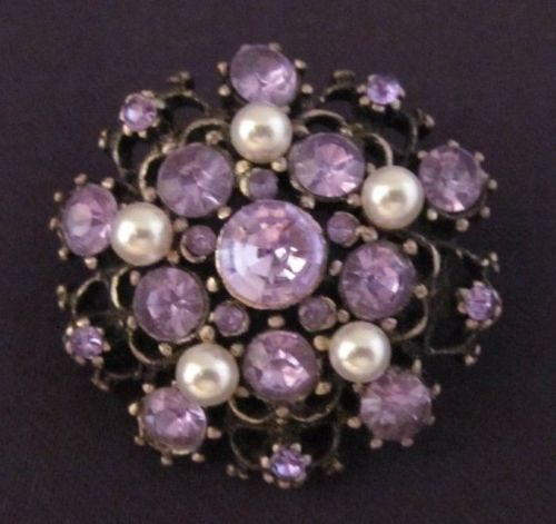 Pearls explode and swirl with clusters of purple rhinestones in this chunky, vintage brooch.  #Stuff4Uand4U http://stores.ebay.com/Stuff4Uand4U