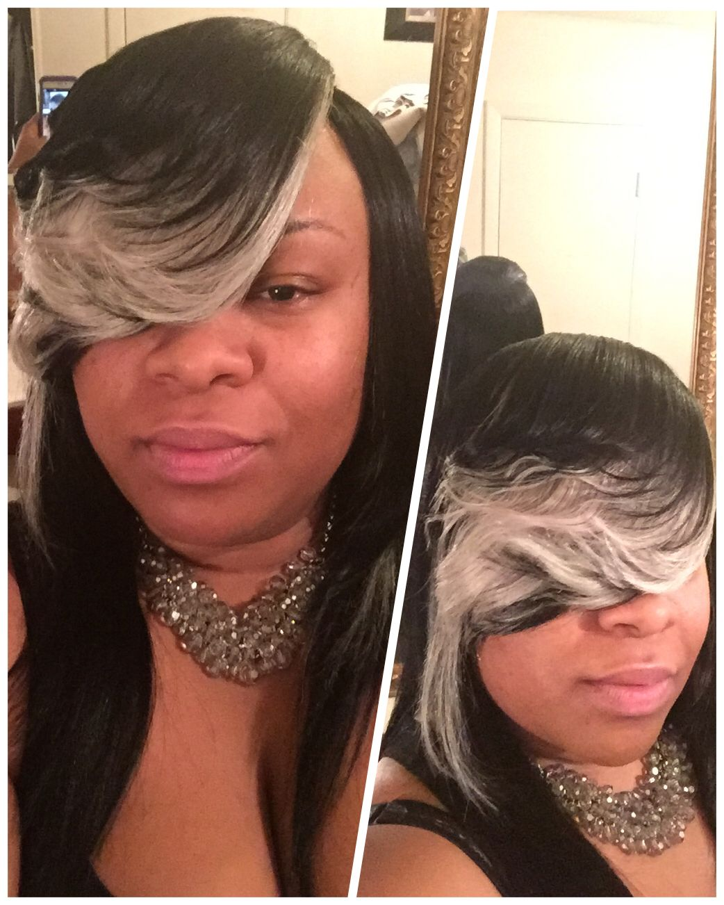 All black long hair with heavy grey and platinum blonde all black long hair with heavy grey and platinum blonde highlighted bang quick weave w pmusecretfo Image collections