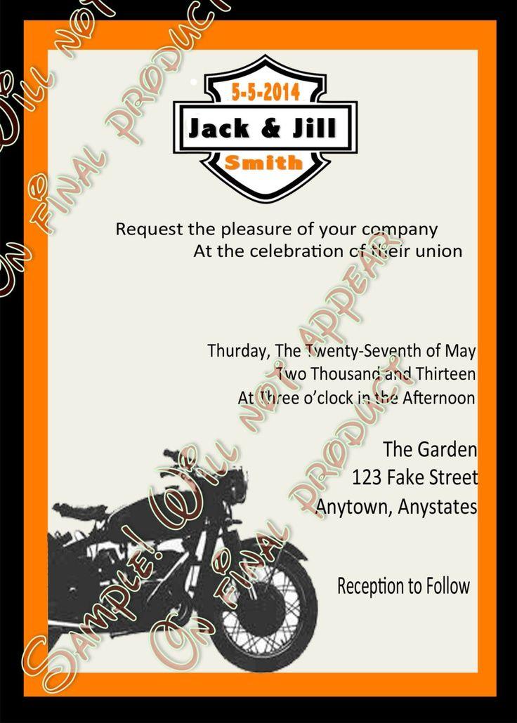 50 Personalized Custom Harley Davidson Motorcycle Wedding Invitations Set