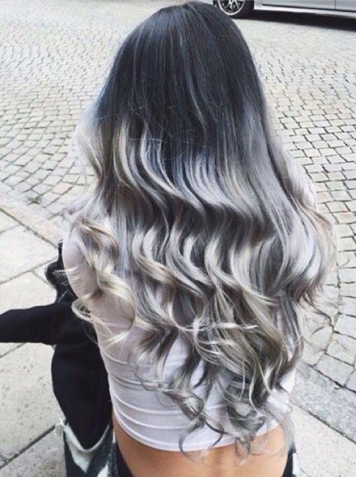 grey hair blue balayage