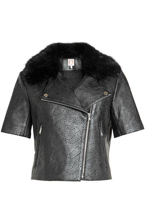 SHRIMPS Perforated Jacket With Faux Fur. #shrimps #cloth #