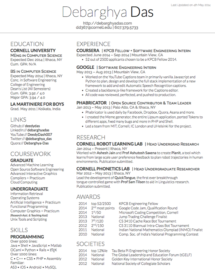 Deedy ResumeCv  Aslam    Resume Cv Template And