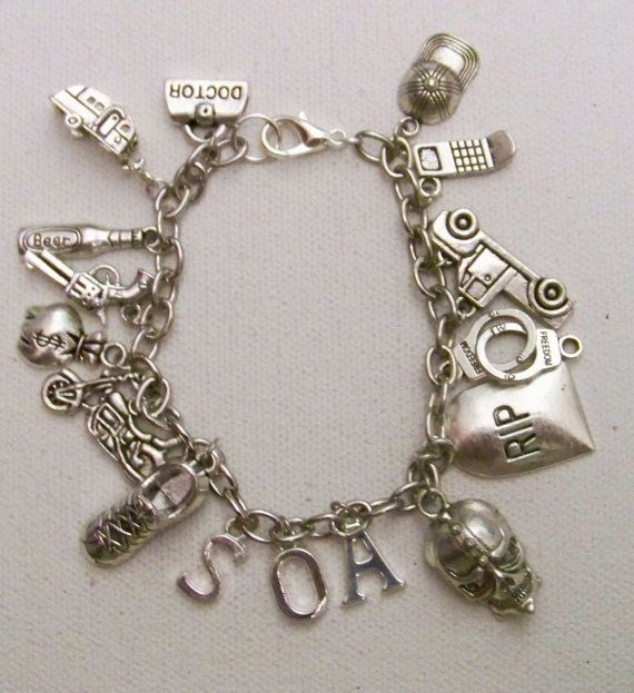 Sons Of Anarchy Themed Charm Bracelet Tv Show Themed Etsy Charm Bracelet Bracelets Charmed