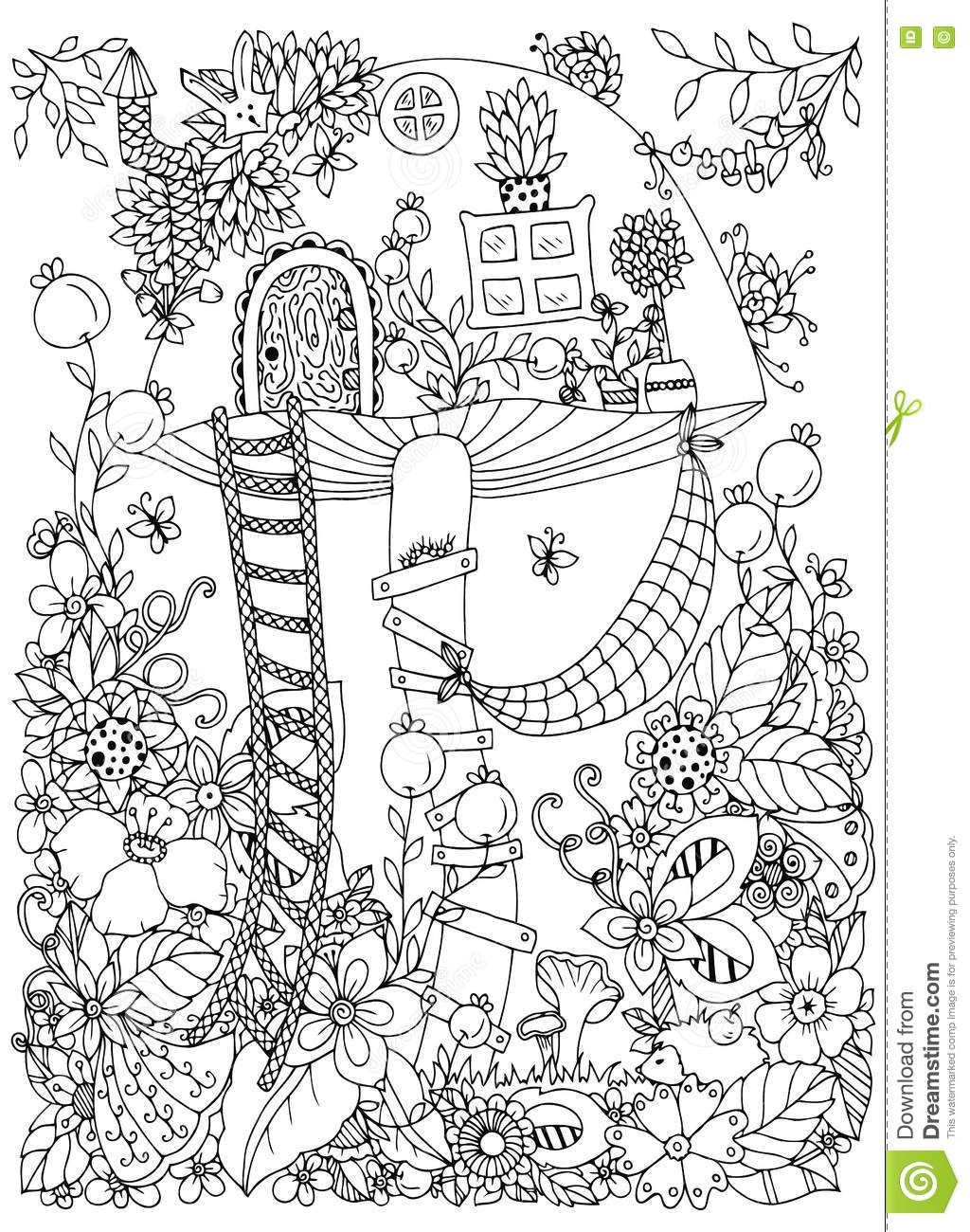 Vector Illustration Zen Tangle, Doodle House Of The Fungus In The ...