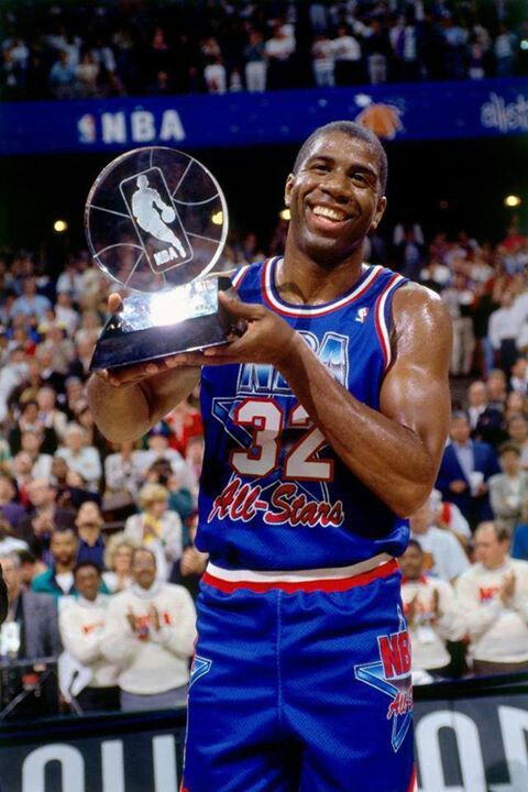 "d4b7ecaea Earvin ""Magic"" Johnson claims the All Star Game MVP from the 1992 NBA All  Star Game in Orlando."