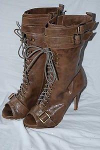 Victoria's Secret Colin Stuart PeepToe Buckle Bootie Mid Calf Boots 7.5