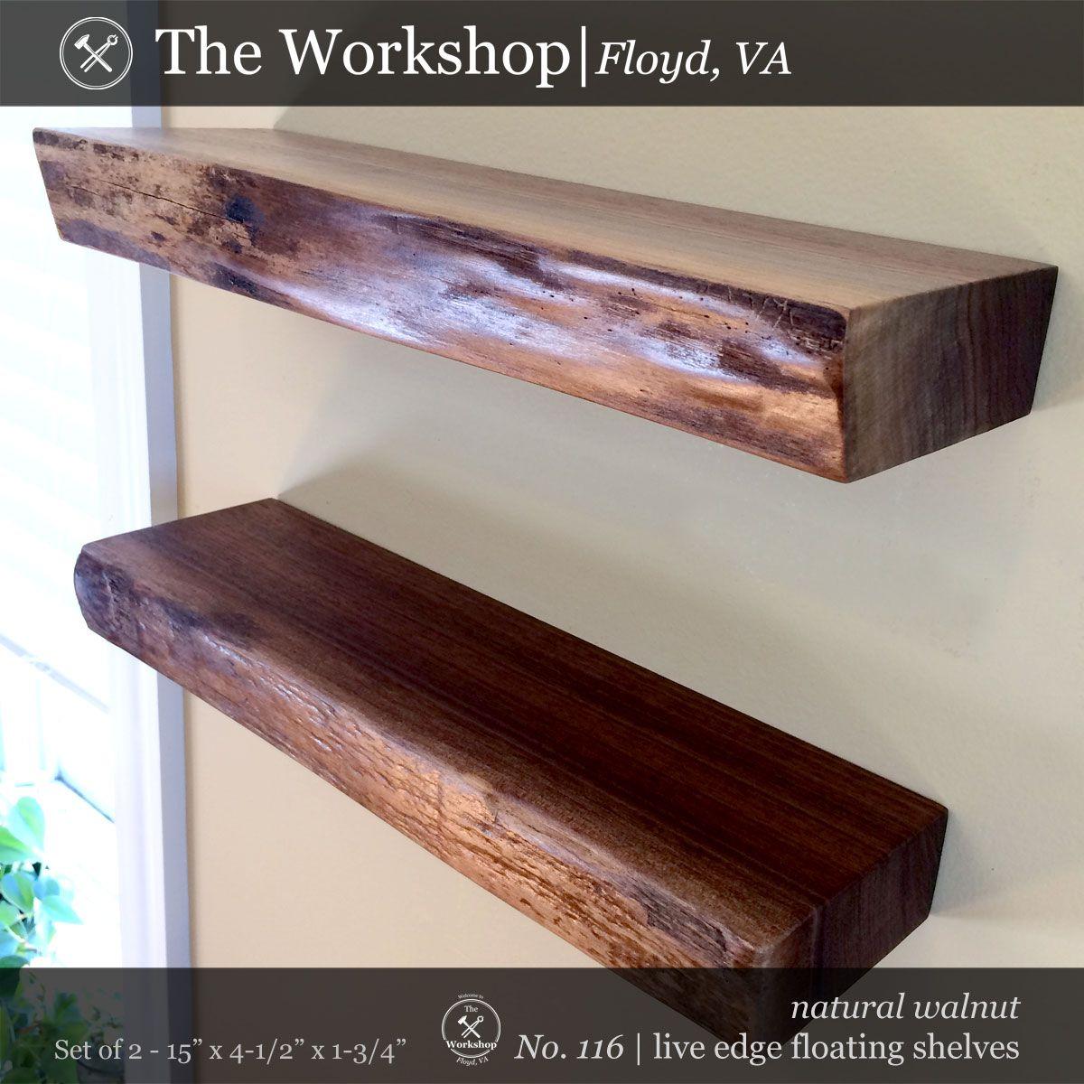 Pin By The Workshop Floyd Va On Floating Shelves Pinterest 1 Set Of 2 Live Edge Walnut No