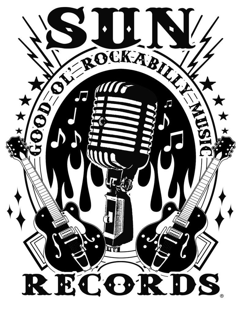 Sun Records Men's Rockabilly Music Raglan White Black
