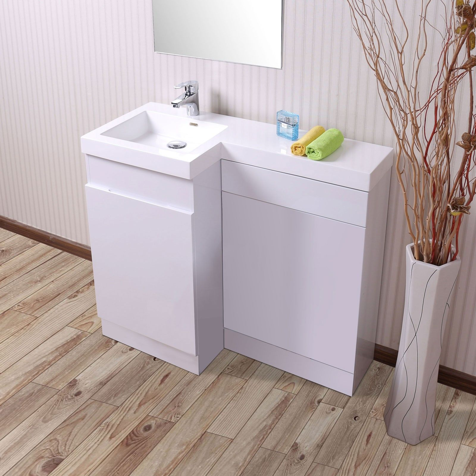 Aston 1000mm white lh bathroom white basin combination vanity unit vanity units basin and for Bathroom combination vanity units