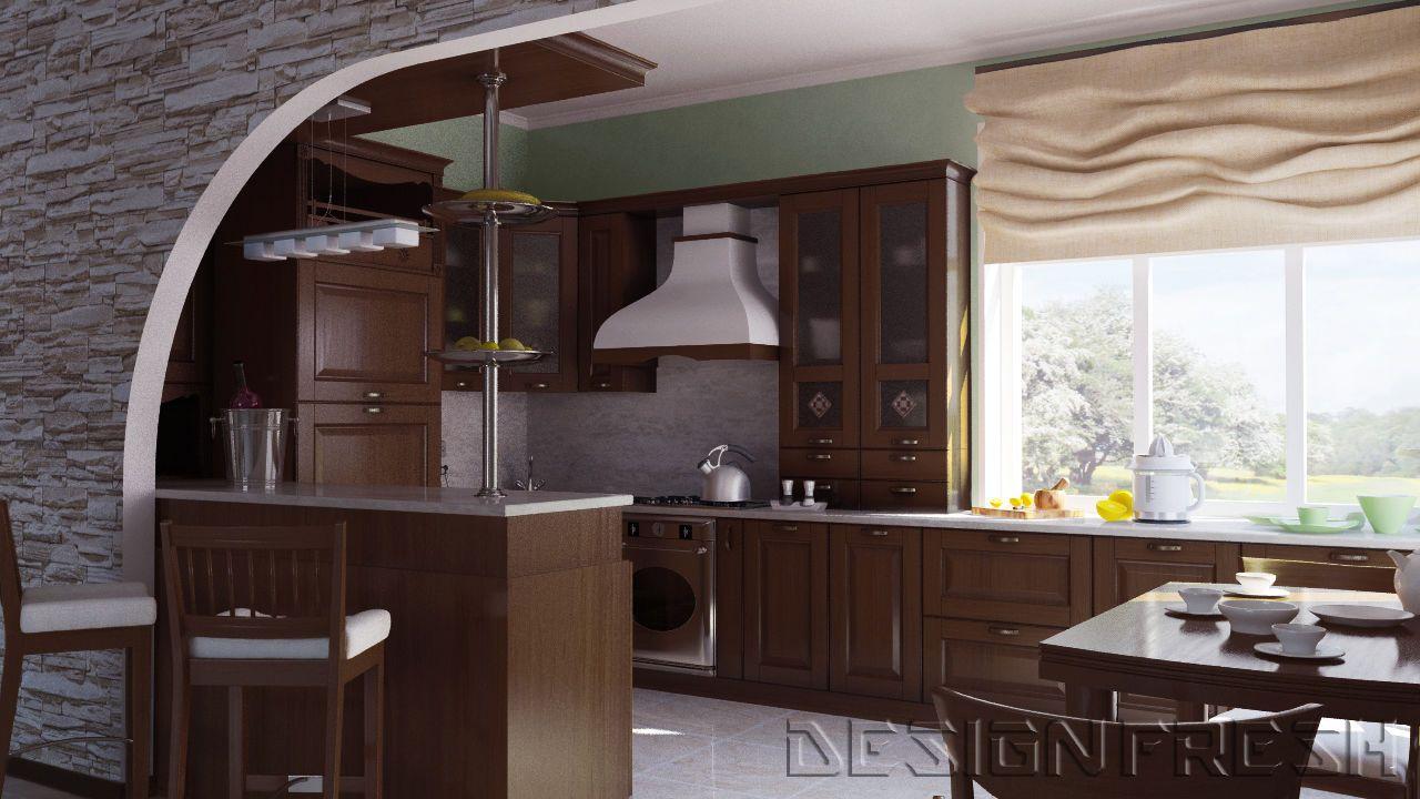 кухня объединенная с залом фото