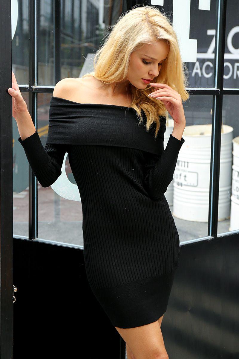 37c7089330  43.68 - Cool Simplee Off shoulder knitting sweater dress women Sexy autumn  winter dress Bodycon long sleeve mini dress vestidos de fiesta - Buy it Now!