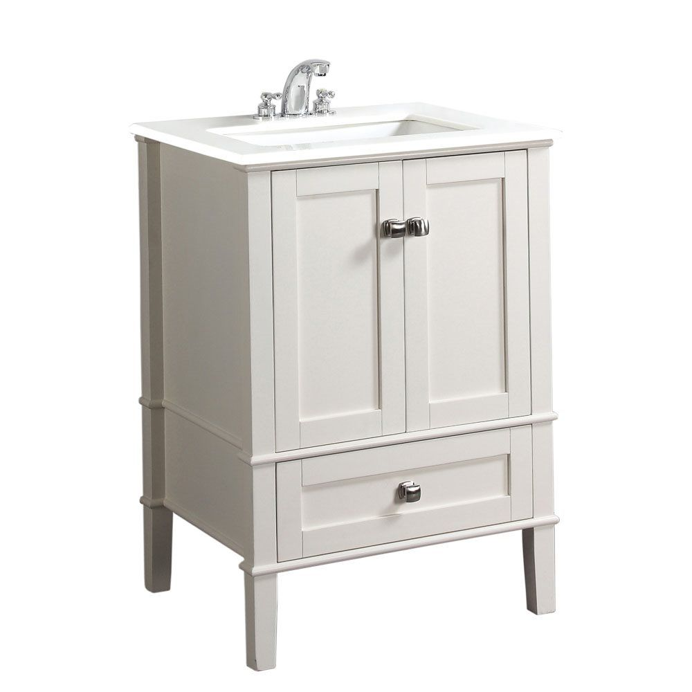 24 In White 668 Chelsea Bath Vanity With White Quartz Marble Top