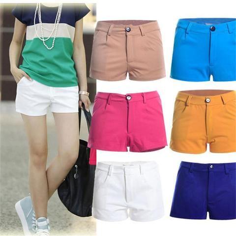 Summer Shorts Slim Fit Candy Color Design Casual Pantalones Elasticity Short…