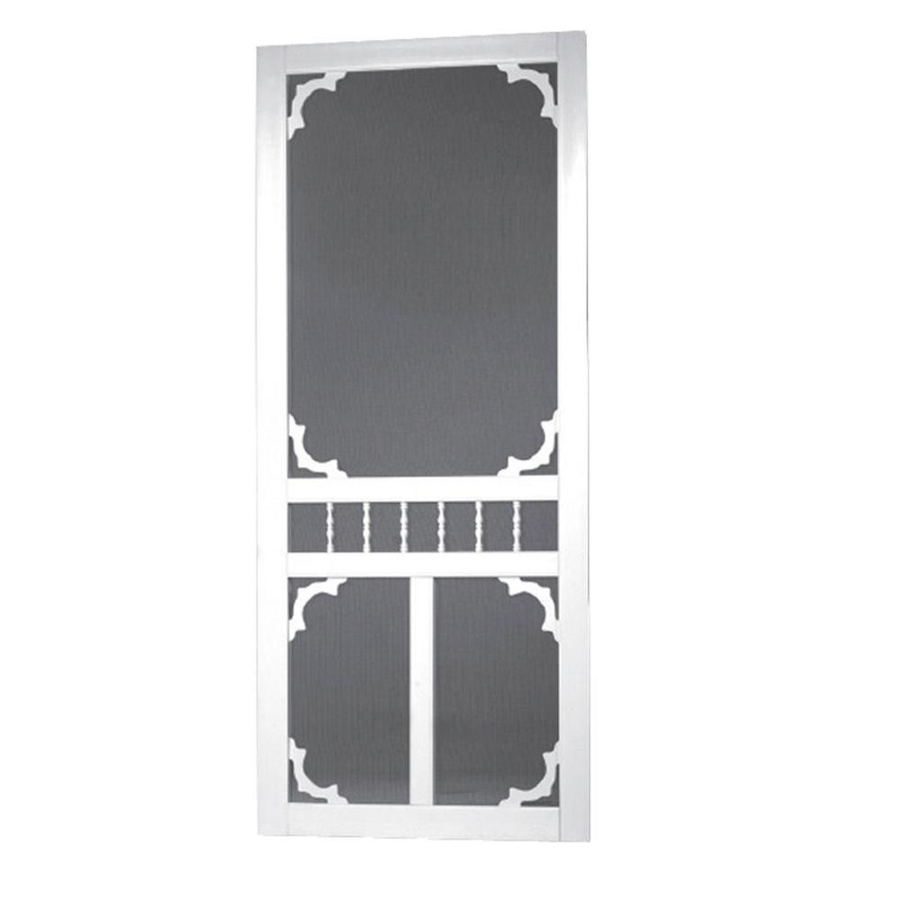 Screen Tight 36 In X 80 In Carolina Solid Vinyl White Screen Door Car36 The Home Depot In 2020 Decorative Screen Doors Screen Tight Screen Door