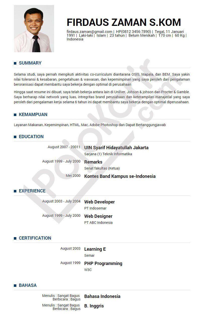 Curriculum Vitae Curriculum Vitae B Indonesia Curriculum Vitae