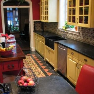 Artistically Inclined: using floor tiles to make faux rug